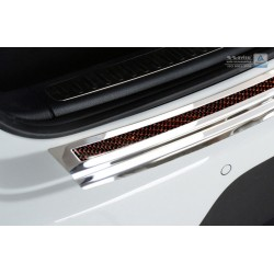 Ochranná nerezová lišta prahu piatych dverí (chróm / červeno-čierny carbon) Porsche Macan 2014 -