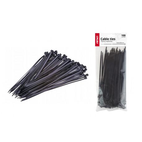 Sťahovacie pásky čierne 4,8x350mm - 100 ks