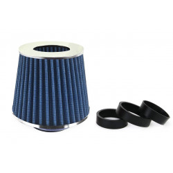 Športový vzduchový filter modrý + 3 adaptéry (chrome)