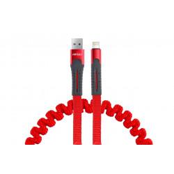 Pružinový kábel USB+Apple lightning 120cm